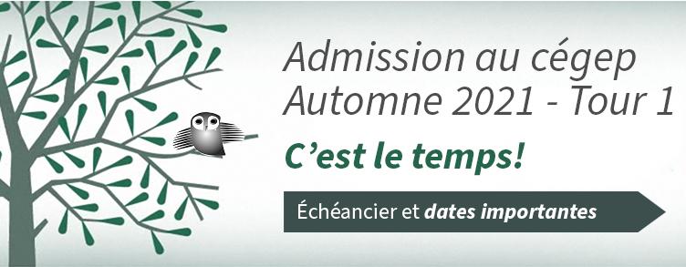Admission pour l'automne 2021